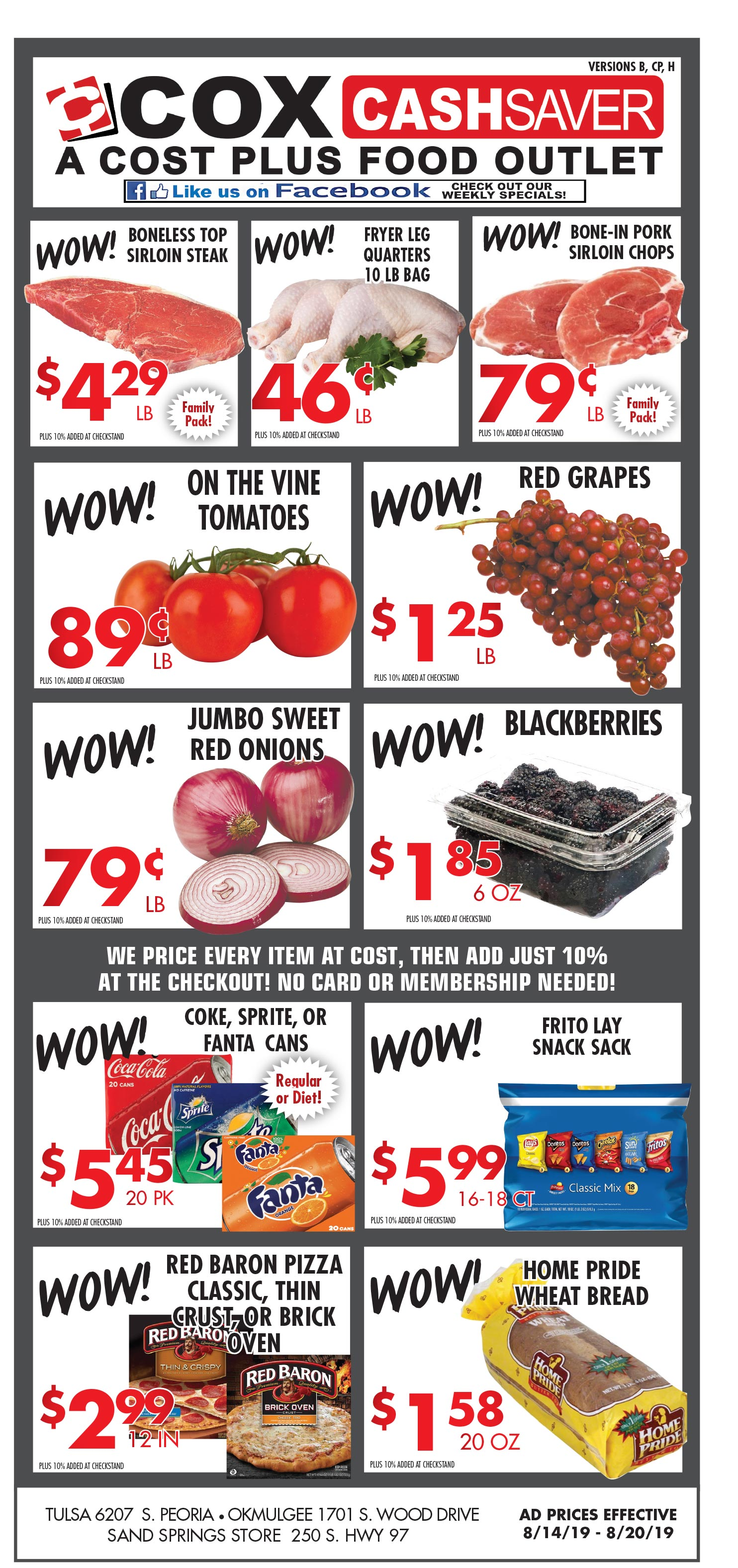 Cash Saver specials for week of 8-14-19