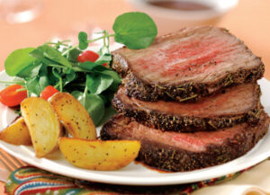 Roast Beef with Rosemary, Roasted Garlic and Red Wine Sauce
