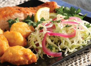 Hush Puppies with Pickled Onion Slaw