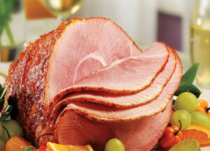 Pepper Peach Glazed Ham